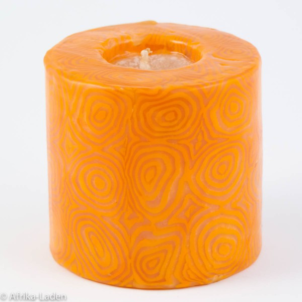 Kerze Orange Spiral Pillar Mini