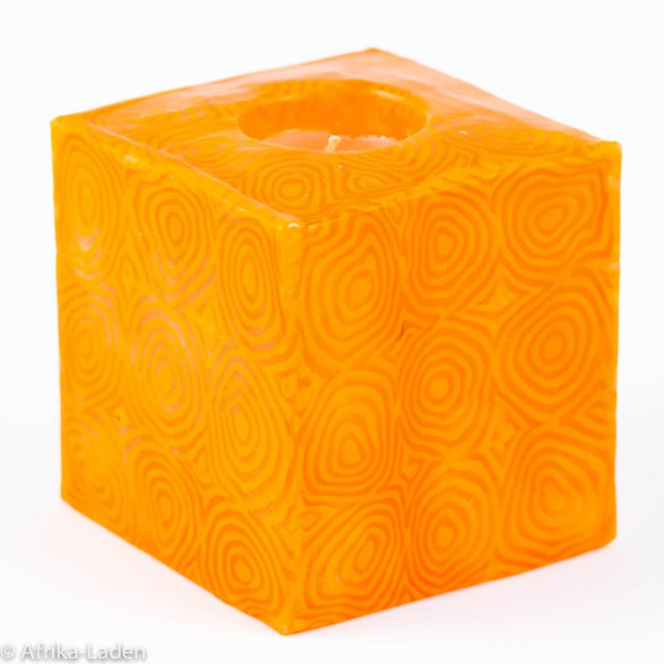 Kerze Orange Spiral Cube Mini