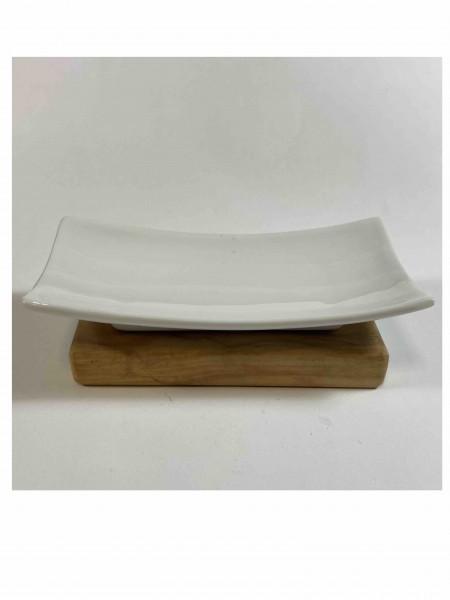 Seifenschale aus Porzellan mit Olivenholzsockel