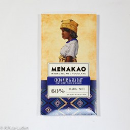 Menakao Edelbitterschokolade 63% Kakaonibs & Seesalz