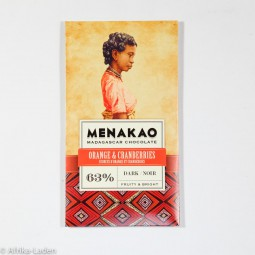 Menakao Edelbitterschokolade 63% Orange & Cranberries