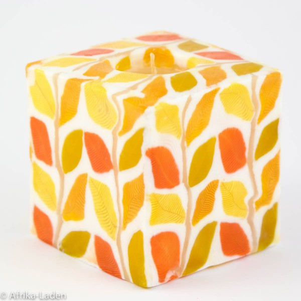 Kerze Autumn Leaf Yellow Cube