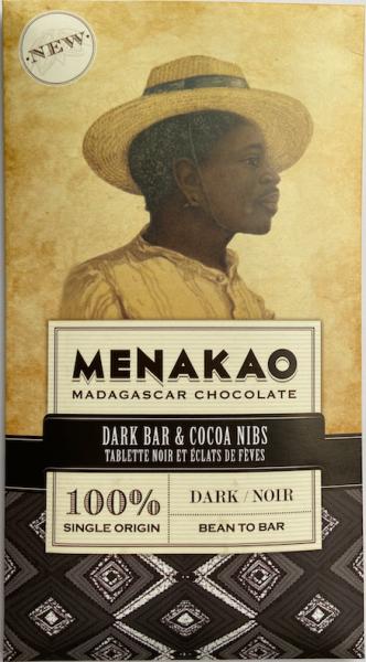 Menakao Schokolade 100% und Kakaobohnensplittern