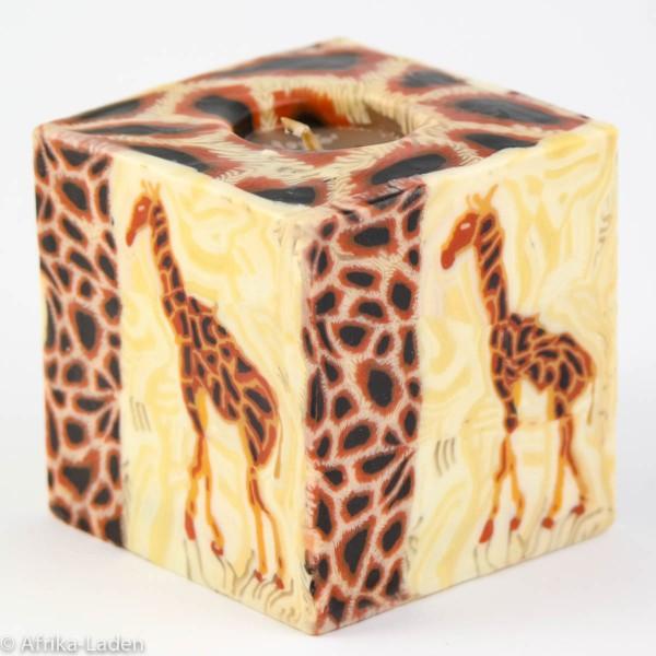 Kerze Giraffe Motiv dunkel Cube