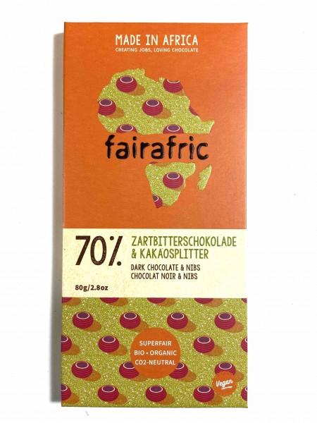 Zartbitterschokolade 70% mit Kakaosplitter