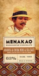 Menakao Edelbitterschokolade 63% Arabica & Kakao Nibs & Seesalz